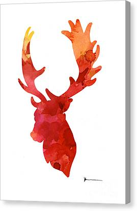 Deer Antlers Silhouette Art Print Watercolor Painting Canvas Print by Joanna Szmerdt