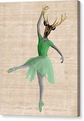 Deer Ballet Dancer Green Canvas Print by Kelly McLaughlan