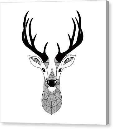 Deer Black And White Canvas Print by Art Et Be