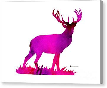 Deer Figurine Silhouette Poster Watercolor Art Print Canvas Print by Joanna Szmerdt