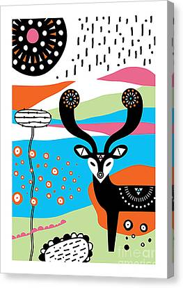 Susan Canvas Print - Deer Garden by Susan Claire