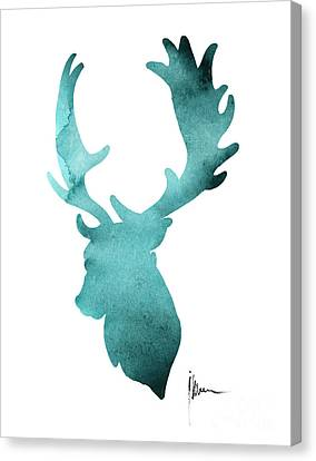 Deer Head Silhouette Painting Watercolor Art Print Canvas Print by Joanna Szmerdt