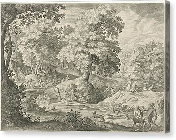 Deer Hunting In A Swamp, Jan Van Londerseel Canvas Print by Jan Van Londerseel