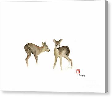Brown Color Canvas Print - Deer Nature Brown Colors Earth Animal Animals Pet Pets Forest Wild Watercolor Painting by Johana Szmerdt