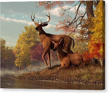 Deer On An Autumn Lakeshore  Canvas Print by Daniel Eskridge