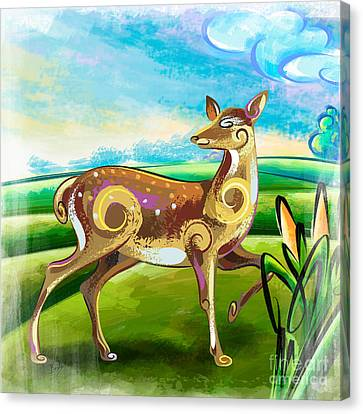 Deer Over Hill Canvas Print by Bedros Awak