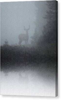 Canvas Print featuring the photograph Deer Reflecting by Diane Alexander
