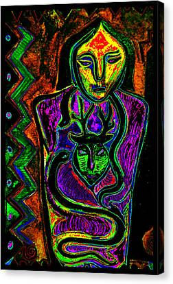 Petroglyphic Art Canvas Print - Deer Shaman With Snakes by Susanne Still