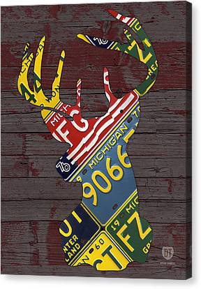 Deer With Antlers Michigan Recycled License Plate Art Canvas Print by Design Turnpike