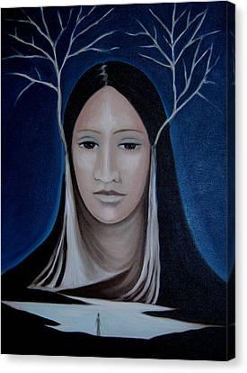 Canvas Print featuring the painting Deer Woman  by Tone Aanderaa