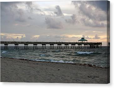 Canvas Print featuring the photograph Deerfield Beach International Fishing Pier Sunrise by Rafael Salazar