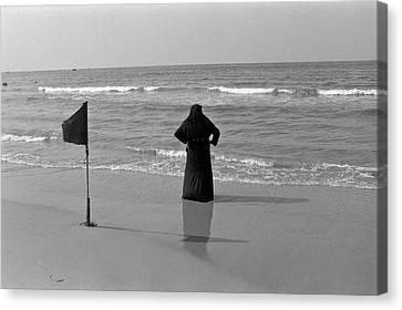 Arab Woman At The Tel Aviv Beach/black And Blue Canvas Print by Kobi Amiel