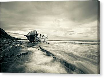 Defeated By The Sea Canvas Print