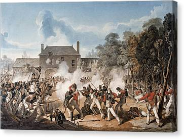Attack Canvas Print - Defence Of The Chateau De Hougoumont by Denis Dighton