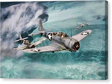 Defending Midway Canvas Print by Peter Chilelli