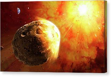 Planetoid Canvas Print - Deflecting A Near-earth Asteroid by Mark Garlick