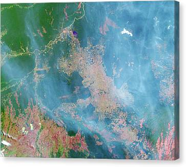 Deforestation In The Amazon Canvas Print by Nasa Earth Observatory