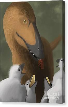 Deinonychus Dinosaur Feeding Its Young Canvas Print by Michele Dessi