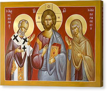 Deisis Jesus Christ St Nicholas And St Paraskevi Canvas Print by Julia Bridget Hayes