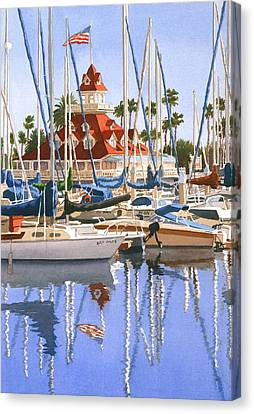 Del Coronado Boathouse Canvas Print by Mary Helmreich
