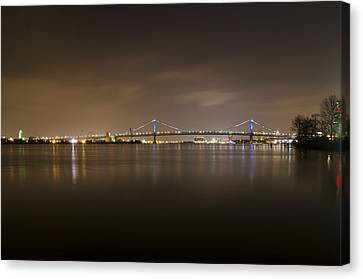 Delaware River And The Ben Franklin Bridge At Night Canvas Print by Bill Cannon