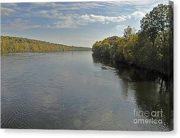 Delaware River In Autumn Canvas Print by Addie Hocynec
