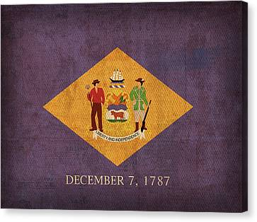 Delaware State Flag Art On Worn Canvas Canvas Print by Design Turnpike
