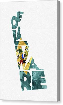 Delaware Typographic Map Flag Canvas Print by Ayse Deniz