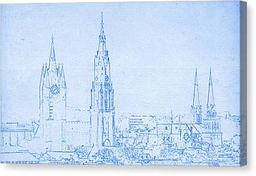 Lincoln Park Lagoon Canvas Print - Delft Netherlands Blueprint by Celestial Images