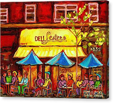 Deli Lesters Smoked Meat Paris Style Sidewalk Cafe Bistro Paintings Street Scene Montreal Art  Canvas Print by Carole Spandau