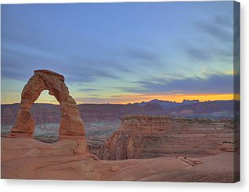 Canvas Print featuring the photograph Delicate Arch At Sunset by Alan Vance Ley