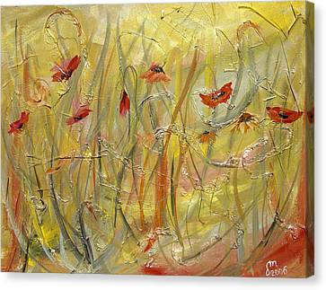 Canvas Print featuring the painting Delicate Poppies by Dorothy Maier