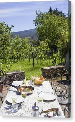 Delicious Italian Lunch In Garden Canvas Print by Patricia Hofmeester