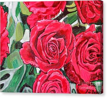 Delight Of Grandma's Roses Painting Canvas Print by Kimberlee Baxter
