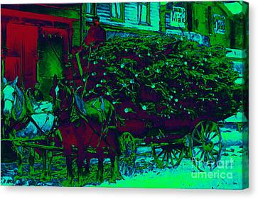 Delivering The Christmas Trees - 20130208 Canvas Print by Wingsdomain Art and Photography