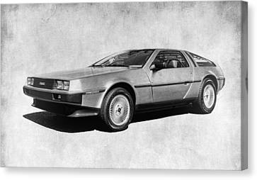 Delorean In Black And White Canvas Print by Steve McKinzie