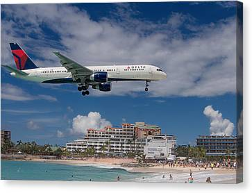 Delta Air Lines Landing At St. Maarten Canvas Print by David Gleeson