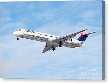 Delta Air Lines Mcdonnell Douglas Md-88 Airplane Landing Canvas Print
