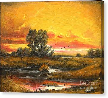 Delta Sunset Canvas Print by Sorin Apostolescu