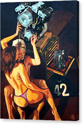 Deluxe Space Robot Canvas Print by George Frizzell