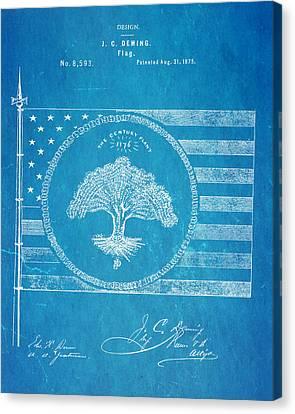 Deming Century Flag Patent Art 1875 Blueprint Canvas Print by Ian Monk