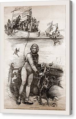 Democracy Sunk 1860, 19th Century Engraving Canvas Print by Litz Collection