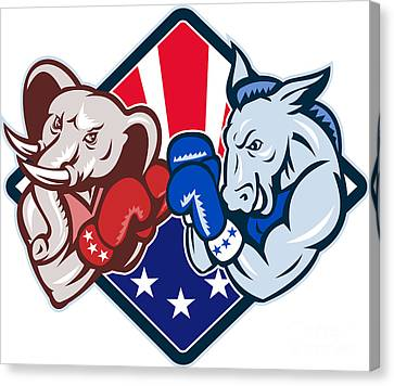 Democrat Donkey Republican Elephant Mascot Boxing Canvas Print by Aloysius Patrimonio