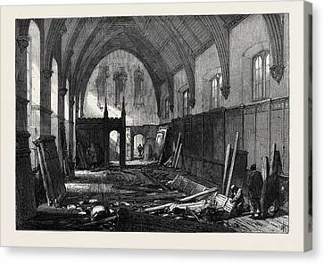 Demolition Of The Old Dining Hall Of The Inner Temple 1869 Canvas Print