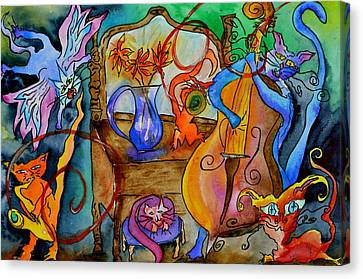 Demon Cats Canvas Print by Beverley Harper Tinsley