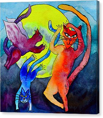 Demon Cats Dance By The Light Of The Moon Canvas Print