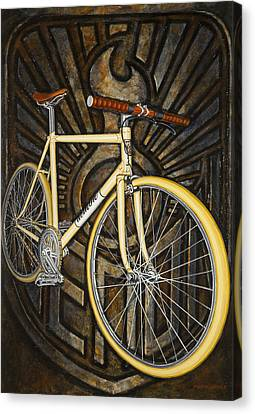 Canvas Print featuring the painting Demon Path Racer Bicycle by Mark Howard Jones