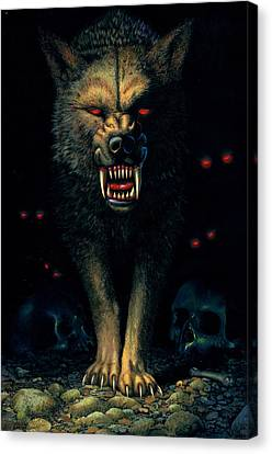 Demon Wolf Canvas Print by MGL Studio - Chris Hiett