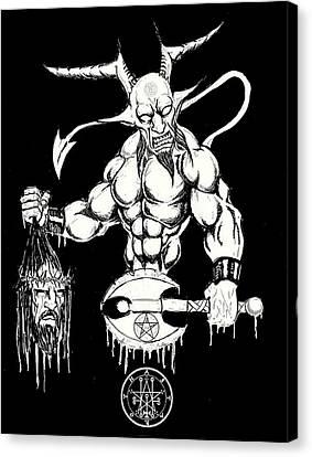 Demons Savior Bloody Redux Canvas Print by Alaric Barca