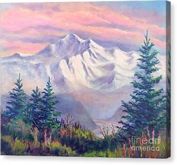 Denali Alpenglow Canvas Print by Teresa Ascone